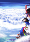 2girls blue_hair bored bow chin_rest cloud food frills fruit hat highres hinanawi_tenshi long_hair multiple_girls nagae_iku open_mouth peach purple_hair red_eyes satou_yuuki short_hair skirt sky touhou