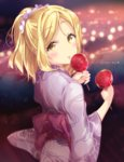 1girl alternate_hairstyle blonde_hair blurry blurry_background blush bokeh candy_apple dated depth_of_field eyebrows_visible_through_hair festival food happy_birthday holding japanese_clothes kimono looking_at_viewer looking_back love_live! love_live!_sunshine!! micopp obi ohara_mari ponytail sash sidelocks solo tongue wide_sleeves yellow_eyes yukata