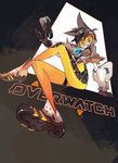 1girl amiami black_hair bodysuit brown_background brown_gloves copyright_name crossed_legs from_below gloves goggles highres looking_at_viewer overwatch shoes simple_background sitting smile sneakers solo spandex spiked_hair tracer_(overwatch) triangle
