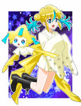 1girl black_footwear blonde_hair blue_eyes blue_hair double_bun jirachi lvilve multicolored_hair open_mouth personification pokemon pokemon_(creature) two-tone_hair