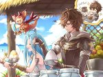 1boy 1girl :d ahoge armor beach brown_eyes closed_eyes coffee coffee_cup coffee_mug commentary_request cup disposable_cup dragon drink elbow_gloves food fruit frustrated gloves granblue_fantasy hood hoodie light_blue_hair long_hair lyria_(granblue_fantasy) mug official_art open_mouth sandalphon_(granblue_fantasy) shaved_ice smile smug sparkle vee_(granblue_fantasy) very_long_hair
