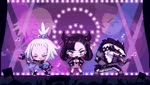 2girls animated black_hair black_jacket blue_eyes chibi christy_frisby crowd electric_guitar gen_8_pokemon guitar headbanging homika_(pokemon) instrument jacket looking_at_viewer looping_animation mary_(pokemon) microphone mp4 multiple_girls music musical_note obstagoon playing_instrument poke_ball_symbol pokemon pokemon_(creature) pokemon_(game) pokemon_bw2 pokemon_swsh shirt silver_hair singing smile stage striped striped_shirt tongue tongue_out topknot