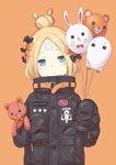 104 1girl :o abigail_williams_(fate/grand_order) balloon bangs black_bow black_jacket blonde_hair blue_eyes blush_stickers bow commentary_request crossed_bandaids fate/grand_order fate_(series) fou_(fate/grand_order) hair_bow hair_bun head_tilt heroic_spirit_traveling_outfit highres holding holding_balloon jacket long_hair long_sleeves looking_at_viewer medjed object_hug orange_background orange_bow parted_bangs parted_lips polka_dot polka_dot_bow simple_background sleeves_past_fingers sleeves_past_wrists solo star stuffed_animal stuffed_toy teddy_bear upper_body