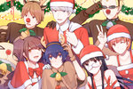 3boys 4girls :3 :d >_< absurdres adjusting_eyewear adjusting_headwear amagi_yukiko animal_costume animal_ears bag bangs bell black_eyes black_hair blonde_hair blue_eyes blue_hair blunt_bangs bow bowtie brown_eyes brown_hair capelet carrying_over_shoulder christmas christmas_lights closed_mouth clown_nose collar collarbone commentary double_v dress earrings elbow_gloves eyebrows_visible_through_hair fake_animal_ears fake_antlers fake_mustache fake_nose flipped_hair furrowed_eyebrows gift_bag gloves grin hair_between_eyes halterneck hanamura_yousuke hand_on_another's_shoulder hand_to_head hat headband highres holly horn_grab jewelry kujikawa_rise kuma_(persona_4) long_hair looking_at_another looking_at_viewer multiple_boys multiple_girls narukami_yuu one_eye_closed open_mouth orange_hair parted_bangs persona persona_4 pinafore_dress purple_hair red_gloves red_neckwear reindeer_costume santa_costume santa_hat satonaka_chie shirogane_naoto short_hair sidelocks silver_eyes silver_hair smile spiked_collar spikes sunglasses sweatdrop swept_bangs tareme tatsumi_kanji teeth tsurime twintails v v-shaped_eyebrows white_gloves wreath yellow_background yft000