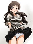 1girl :o arms_behind_back ass_visible_through_thighs black_skirt blush bow bow_panties brown_eyes brown_hair commentary_request crotch_seam eyebrows_visible_through_hair grey_panties grey_shirt idolmaster idolmaster_million_live! kitazawa_shiho lielos long_sleeves looking_at_viewer miniskirt open_mouth panties pantyshot pantyshot_(standing) partial_commentary petticoat pleated_skirt shirt short_sleeves skirt skirt_lift solo standing striped striped_shirt stuffed_animal stuffed_cat stuffed_toy sweatdrop t-shirt thigh_gap underwear wind wind_lift