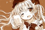 1girl ;d alcohol bangs beer beer_mug blush bow braid brooch brown_background cabbie_hat collared_shirt commentary_request cup eyebrows_visible_through_hair foam gloves hair_between_eyes hair_bow hands_up hat head_tilt holding holding_cup jewelry long_hair monochrome one_eye_closed open_mouth original sakurazawa_izumi shirt simple_background smile solo striped striped_bow twintails upper_body