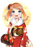 1girl absurdres blue_eyes blush brown_hair earrings floral_print flower fur_trim hair_flower hair_ornament haruka_(pokemon) highres japanese_clothes jewelry kimono long_hair looking_at_viewer obi pokemon pokemon_(game) pokemon_oras red_flower red_kimono sash simple_background solo standing twintails white_background yuihiko yukata