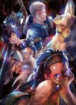 1boy 3girls arm_tattoo ass back_tattoo bare_shoulders bengus black_choker blonde_hair blue_eyes blue_jacket breasts brown_eyes choker cigarette cleavage come_at_me_bro curly_hair dark_skin denim devil_may_cry devil_may_cry_5 facial_scar forehead glasses goggles goggles_around_neck green_eyes grin hairband heterochromia highres hood hood_down hooded_jacket jacket kalina_ann_(weapon) lady_(devil_may_cry) long_hair looking_at_viewer mechanical_arm medium_breasts medium_hair multiple_girls nero_(devil_may_cry) nico_(devil_may_cry) purple_eyes red-framed_eyewear rocket_launcher scar scar_on_cheek short_hair silver_hair smile smoke sword sword_behind_back tattoo tramp_stamp trish_(devil_may_cry) weapon