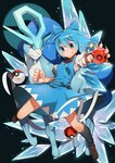 :d >:d blue_eyes blue_hair bow cirno clenched_hand commentary full_body grin hair_bow highres ice ice_wings looking_at_viewer necktie open_mouth poke_ball pokeball_symbol pokemon red_eyes short_hair smile sofa_(enogunomu) sparkle suicune touhou wings