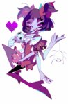 1girl amakusa_(hidorozoa) black_hair blue_skin boots cup dress extra_eyes full_body heart high_heels insect_girl knee_boots looking_at_viewer monster_girl muffet multiple_arms purple_eyes ribbon short_hair smile solo spider spider_girl teacup undertale white_background