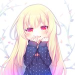 1girl :d bangs blonde_hair blue_hoodie blush commentary_request drawstring eyebrows_visible_through_hair fang hair_between_eyes hand_to_own_mouth hands_up hood hoodie long_hair long_sleeves looking_at_viewer lowres open_mouth original polka_dot polka_dot_hoodie red_eyes sakurato_ototo_shizuku sleeves_past_wrists smile solo very_long_hair white_background