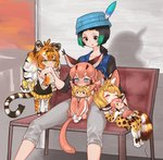4girls :< =3 ^_^ animal_ear_fluff animal_ears animal_print bench biting black_eyes black_hair black_shirt black_vest blonde_hair blue_eyes blue_vest blush bow caracal_(kemono_friends) caracal_ears caracal_tail character_doll chibi closed_eyes collarbone commentary_request doll_hug ear_blush elbow_gloves extra_ears fang gloves gradient_hair green_eyes green_hair grey_pants hair_bow hat hat_feather highres kemono_friends kyururu_(kemono_friends) long_hair long_sleeves low_ponytail minigirl multicolored_hair multiple_girls nose_blush notora older orange_hair pants paws pleated_skirt print_gloves print_legwear print_skirt serval_(kemono_friends) serval_ears serval_print serval_tail shirt short_hair short_ponytail siberian_tiger_(kemono_friends) sitting sitting_on_lap sitting_on_person skirt sparkle striped_tail sweat sweating_profusely tail thighhighs tiger_ears tiger_print tiger_tail vest white_hair yellow_bow