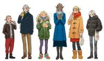3boys 3girls :q :t ankle_boots arm_at_side bag bangs baozi biting black_coat black_footwear black_legwear blonde_hair blue_coat blue_eyes blunt_bangs blush boots bowl braid bread breath brown_footwear brown_jacket brown_pants captain_misurn chopsticks closed_eyes coat cold contemporary cross-laced_footwear dark_skin drawstring dungeon_meshi ear_clip ear_piercing eating elf facial_mark facing_viewer fleki food forehead_mark frown full_body fur-trimmed_boots fur-trimmed_coat fur_trim green_coat green_sweater grey_hair grey_hoodie grey_pants hair_over_shoulder hair_tubes hand_in_pocket hands_in_pockets high_heel_boots high_heels highres holding holding_bag holding_bowl holding_chopsticks holding_food hood hood_down hoodie jacket knee_boots kui_ryouko leather leather_jacket lineup long_hair looking_at_another looking_at_viewer looking_away looking_down looking_to_the_side low_twintails mask_pull messy_hair multicolored multicolored_clothes multicolored_footwear multicolored_scarf multiple_boys multiple_girls official_art one_eye_closed open_clothes open_jacket orange_coat otta_(dungeon_meshi) own_hands_together pants pantyhose pattdohl piercing plastic_bag pocket pointy_ears purple_legwear red_pants red_scarf scarf shoes shopping_bag short_hair sidelocks sideways_glance silver_hair sishys sleeves_past_wrists sneakers standing straight_hair striped striped_legwear surgical_mask sweater swept_bangs toggles tongue tongue_out twintails unzipped vertical-striped_legwear vertical_stripes very_long_hair winter_clothes