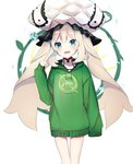 1girl :d ameshizuku_natsuki bangs blue_eyes blush clothes_writing eyebrows_visible_through_hair fate/grand_order fate_(series) frilled_hat frills green_hoodie hair_between_eyes hat head_tilt hood hood_down hoodie light_brown_hair long_hair long_sleeves marie_antoinette_(fate/grand_order) open_mouth quick_shirt sleeves_past_fingers sleeves_past_wrists smile solo twintails very_long_hair white_hat