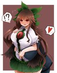 ! 1boy 1girl ? arano_oki blush bow breasts brown_hair hair_bow heart hetero hug hug_from_behind large_breasts long_hair red_eyes reiuji_utsuho spoken_exclamation_mark spoken_heart spoken_question_mark touhou very_long_hair wide_hips