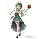 1girl :o alter_record_adjustment antenna_hair apple apple_hair_ornament asymmetrical_legwear belt bow brown_footwear copyright_name food food_themed_hair_ornament fruit full_body green_eyes green_hair green_skirt hair_bow hair_ornament hane_segawa high_heels highres holding holding_sword holding_weapon left-handed looking_at_viewer newton_(alter_record_adjustment) official_art pink_bow rapier skirt socks solo standing sword twintails watermark weapon white_legwear