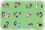._. :3 :d :o :x >:) >_< absurdres animal_ears antennae asymmetrical_clothes bangs bat_wings bird_wings blue_hair blunt_bangs blush_stickers book book_stack brown_hair bug bunny bunny_ears cape cart chair chibi cirno coat confused cookie crescent crescent_moon_pin cup falling fang fish flying_sweatdrops food frog frozen futon geisha green_background green_hair hair_ribbon hat head_wings heavy highres holding holding_book houraisan_kaguya ice ice_skates ice_wings inaba_tewi insect juliet_sleeves jumping kasodani_kyouko koakuma lavender_hair leaning_forward letty_whiterock long_hair long_sleeves makeup math microphone minigirl mob_cap multiple_views musical_note mystia_lorelei necktie no_eyes no_mouth no_nose o_o open_book open_mouth patchouli_knowledge pencil pointing ponytail puffy_sleeves pushing rakugaki-biyori red_hair reisen_udongein_inaba remilia_scarlet ribbon scared scarf short_hair sidelocks simple_background sitting skates skirt skirt_set sleeping smile syringe tail teacup tears touhou trembling tress_ribbon v-shaped_eyebrows waving_arms winged_hat wings wriggle_nightbug writing xd yagokoro_eirin