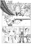 2girls bad_id bad_pixiv_id blush comic drill_hair fingerless_gloves gloves greyscale gun hair_ornament highres kaname_madoka kosshii_(masa2243) magical_musket mahou_shoujo_madoka_magica monochrome multiple_girls school_uniform skirt smile tears thighhighs tomoe_mami translated twin_drills twintails weapon