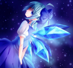 1girl blue_eyes blue_hair bow cirno dress from_behind hair_bow looking_back sakuyabm short_hair solo touhou wings