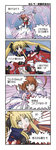 2girls 4koma arm_belt belt blonde_hair bow cape comic fate_testarossa gloves lyrical_nanoha magic_circle magical_girl mahou_shoujo_lyrical_nanoha multiple_girls parody raising_heart red_bow red_hair sanari_(quarter_iceshop) takamachi_nanoha torn_clothes translation_request twintails white_devil