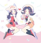 2girls :d :o adapted_costume bangs between_legs black_legwear black_shirt blue_eyes blue_hair boots bow buttons coat commentary_request cropped_jacket crystal_(pokemon) facing_another from_side full_body hand_between_legs hat hikari_(pokemon) jacket long_hair long_sleeves looking_at_viewer miniskirt multiple_girls no_nose open_clothes open_jacket open_mouth orange_shorts parted_bangs pink_skirt pleated_skirt poke_ball_theme pokemon pokemon_(game) pokemon_dppt pokemon_gsc red_footwear red_jacket scarf shirt shoes shorts silver_eyes skirt smile socks suspender_shorts suspenders takashino_(noni-nani) twintails what_if white_bow white_hat white_jacket white_legwear white_scarf