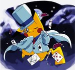blue_ribbon blue_shirt blush_stickers cape card club_(shape) collared_shirt cosplay diamond_(shape) formal gen_1_pokemon hat hat_ribbon kaitou_kid kaitou_kid_(cosplay) long_sleeves meitantei_conan monocle necktie night no_humans one_eye_closed pikachu playing_card pokachuu pokemon pokemon_(creature) red_neckwear ribbon shirt smile spade_(shape) suit top_hat white_cape white_hat