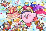;d anniversary birthday_cake blue_background cake channel_ppp commentary_request confetti copy_ability festival_bird food kirby kirby:_star_allies kirby_(series) no_humans notepad official_art one_eye_closed open_mouth outline party_popper plate smile streamers waddle_dee white_outline