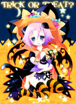 1other androgynous animal_ears bangs black_cape black_footwear black_hat black_wings blue_eyes blush bow bowtie candy_wrapper cape cat_ears cat_tail commentary_request crona_(soul_eater) dripping eyebrows_visible_through_hair full_body hair_between_eyes halloween hat head_tilt heart holding holding_wand horizontal-striped_legwear horizontal_stripes looking_at_viewer mary_janes naked_cape object_hug orange_neckwear parted_lips purple_hair sakurazawa_izumi shoes sitting solo soul_eater sparkle star striped striped_legwear stuffed_animal stuffed_bunny stuffed_toy tail tears thighhighs trick_or_treat wand wings witch_hat yokozuwari