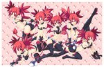 1girl artist_name bare_shoulders bat_wings character_doll demon_girl demon_tail demon_wings disgaea earrings elbow_gloves etna finger_to_mouth flat_chest gloves iwasi-r jewelry mini_wings navel one_eye_closed open_mouth pointy_ears prinny red_hair skull tail tongue tongue_out wings