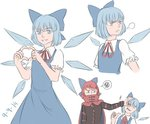2girls bad_id bad_tumblr_id blue_eyes blue_hair bow cape cirno covered_mouth dated dress hair_bow heart heart_hands mefomefo multiple_girls puffy_short_sleeves puffy_sleeves pushing pushing_away red_eyes red_hair sekibanki shirt short_hair short_sleeves touhou wings