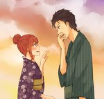 1boy 1girl alternate_costume alternate_hairstyle black_hair blush breasts brown_eyes brown_hair cloud cloudy_sky cowboy_shot dusk facial_hair floral_print hair_bun hand_to_own_mouth japanese_clothes kimono looking_at_another makise_kurisu obi okabe_rintarou open_mouth pointing profile purple_eyes sash short_hair sky small_breasts standing steins;gate stubble wavy_mouth yugure