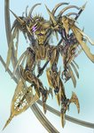 commentary_request fantasy glowing glowing_eyes gradient gradient_background holding holding_polearm holding_weapon mecha no_humans original polearm purple_eyes simple_background tagme weapon yutori_(clockwork_chicken)