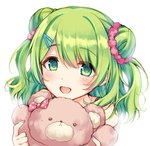 1girl :d bangs bare_shoulders blush commentary double_bun eyebrows_visible_through_hair fingernails green_eyes green_hair hair_between_eyes hair_ornament hair_scrunchie hairclip holding holding_stuffed_animal long_hair morinaka_kazaki nail_polish nijisanji open_mouth pink_nails red_scrunchie scrunchie side_bun simple_background smile solo stuffed_animal stuffed_toy suu_(tuinte) teddy_bear two_side_up upper_body virtual_youtuber white_background