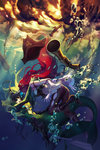2girls ass bare_shoulders boots breasts bubble commentary detached_sleeves fish_girl green_hair green_skin gun hat headdress league_of_legends long_hair mermaid monster_girl multiple_girls nami_(league_of_legends) pants pirate pirate_hat red_eyes red_hair sarah_fortune scales shilin skin_tight smile submerged underwater water weapon