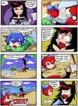 3girls 4koma animal_ears axe bare_shoulders black_hair blue_eyes blue_hair bow comic commentary decapitation fang finnish_text grass_root_youkai_network imaizumi_kagerou mermaid monster_girl multiple_girls red_eyes red_hair scales sekibanki setz severed_head touhou translated wakasagihime weapon wide-eyed wolf_ears