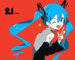 1girl ;d bare_shoulders black_sleeves blue_eyes blue_hair blush commentary_request detached_sleeves grey_shirt hair_between_eyes hair_ornament hand_up hatsune_miku highres ligton1225 long_hair looking_back number one_eye_closed open_mouth red_background shirt simple_background sleeveless sleeveless_shirt smile solo star twintails upper_body vocaloid