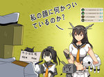 akizuki_(kantai_collection) artist_request black_hair chou-10cm-hou-chan commentary commentary_request corset gameplay_mechanics ground_vehicle hachimaki hairband hatsuzuki_(kantai_collection) headband kantai_collection military military_vehicle motor_vehicle nagato_(kantai_collection) neckerchief northern_ocean_hime ponytail school_uniform serafuku shinkaisei-kan sparkle t-head_admiral tank translated turret