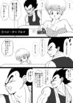 bare_shoulders breasts bulma cleavage comic controller couch dragon_ball dragon_ball_z earrings greyscale highres husband_and_wife jewelry momochamplu monochrome mouth_hold muscle open_mouth polka_dot popsicle remote_control short_hair smile sweat tank_top towel translation_request vegeta