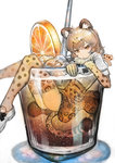 1girl :< animal_ears ass blonde_hair brown_eyes closed_mouth commentary_request cup desuka_(sasadango6) drink drinking_straw elbow_gloves food from_side fruit fur_collar gloves hair_between_eyes high-waist_skirt highres ice ice_cube in_container in_cup jaguar_(kemono_friends) jaguar_ears jaguar_print jaguar_tail kemono_friends looking_at_viewer minigirl orange orange_slice sitting skirt solo tail thighhighs white_background white_footwear