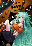 1girl bat_wings broom capelet date_a_live from_side frown green_eyes green_hair halloween hat highres holding holding_broom kneehighs long_hair looking_at_viewer natsumi89 natsumi_(date_a_live) navel solo striped striped_legwear thighhighs very_long_hair wings witch_hat