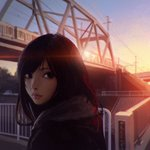 1girl black_eyes black_hair bridge building city cloud coat day evening ground_vehicle highres ilya_kuvshinov lens_flare lips long_hair looking_at_viewer nose original outdoors overhead_line power_lines railing real_world_location scarf sky solo sun_glare sunset train
