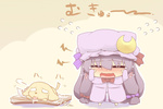 1girl blush book chibi crescent dog dress drooling fang hat hazuki_ruu long_hair mukyuu open_mouth patchouli_knowledge pink_dress purple_hair solo standing tail tail_wagging tears touhou translated wavy_mouth