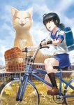 1girl :d animal bag bicycle bicycle_basket black_hair black_legwear blue_sailor_collar blue_skirt blue_sky brown_footwear cat cat_focus cloud commentary day from_side ground_vehicle highres kfr open_mouth original outdoors oversized_animal pleated_skirt ponytail riding_bike sailor_collar school_bag school_uniform serafuku shirt shoes short_hair short_sleeves shoulder_bag skirt sky smile socks solo white_shirt