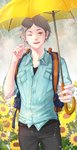 1boy ;d absurdres backpack bag black_pants blue_shirt commentary_request flower grey_hair haikyuu!! hand_up highres holding holding_umbrella i-sol-e looking_at_viewer male_focus mole mole_under_eye one_eye_closed open_mouth outdoors pants rain shirt smile solo standing sugawara_koushi umbrella yellow_umbrella