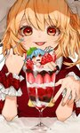2girls :p alternate_costume ascot bad_id bad_twitter_id bangs blonde_hair blue_hair blush bow chocolate_syrup commentary_request cup dress drinking_glass eyebrows_visible_through_hair flandre_scarlet food fruit gotoh510 hair_between_eyes hands_up hat holding holding_spoon ice_cream in_container in_cup in_food leaf leaf_on_head looking_at_viewer minigirl mob_cap multiple_girls one_side_up open_mouth red_bow red_dress red_eyes remilia_scarlet short_hair siblings sisters spoon strawberry sundae tongue tongue_out touhou upper_body white_hat wrist_cuffs yellow_neckwear