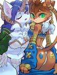 27_degrees 2girls angel_wings animal_ears ass bell blue_eyes brown_hair cat cat_ears cat_girl cat_tail closed_mouth collarbone commentary_request crossed_legs daena detached_sleeves dragoon feathers fundoshi furry gloves green_eyes hair_between_eyes highres holding horn japanese_clothes legend_of_mana light_brown_hair long_hair looking_at_viewer multiple_girls nipple_slip nipples panties purple_hair seiken_densetsu short_hair sierra sitting skirt slit_pupils smile tail underwear wings wolf_ears wolf_girl yellow_gloves
