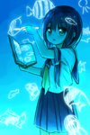 1girl :o bangs black_hair blue blue_background blue_skirt blush book commentary_request cowboy_shot drawing eyebrows_visible_through_hair flying_fish glowing green_eyes hair_between_eyes holding holding_book long_hair looking_away magic neckerchief open_book original parted_lips pleated_skirt school_uniform serafuku shirt short_sleeves skirt solo white_shirt yellow_neckwear yuuhagi_(amaretto-no-natsu)