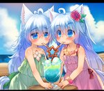 2girls animal_ears bare_shoulders beach blue_eyes blush crazy_straw day drinking_straw flower hair_flower hair_ornament highres lolita_fashion long_hair multiple_girls original siblings tail toba_hiyoko twins white_hair wolf_ears wolf_tail
