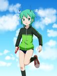 1girl alternate_costume antennae bangs black_legwear blue_sky blush buruma cato_(monocatienus) cloud commentary_request day feet_out_of_frame green_eyes green_hair green_jacket holding jacket kneehighs leg_up long_sleeves looking_at_viewer no_pants open_mouth outdoors red_footwear relay_baton shoes short_hair sky sneakers solo standing standing_on_one_leg sweat thighs touhou v-shaped_eyebrows wriggle_nightbug