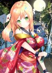 1girl bangs bare_shoulders blonde_hair blush braid breasts building closed_mouth commentary_request cowboy_shot earrings envelope eyebrows_visible_through_hair fantasy floral_print full_moon glint green_eyes head_tilt holding holding_sword holding_weapon japanese_clothes jewelry katana kimono large_breasts long_hair looking_at_viewer magic misaki_(misaki86) moon night obi off_shoulder original outdoors plant print_kimono railing red_kimono sash short_sleeves side_slit sidelocks solo standing sword tassel weapon wide_sleeves wrist_cuffs